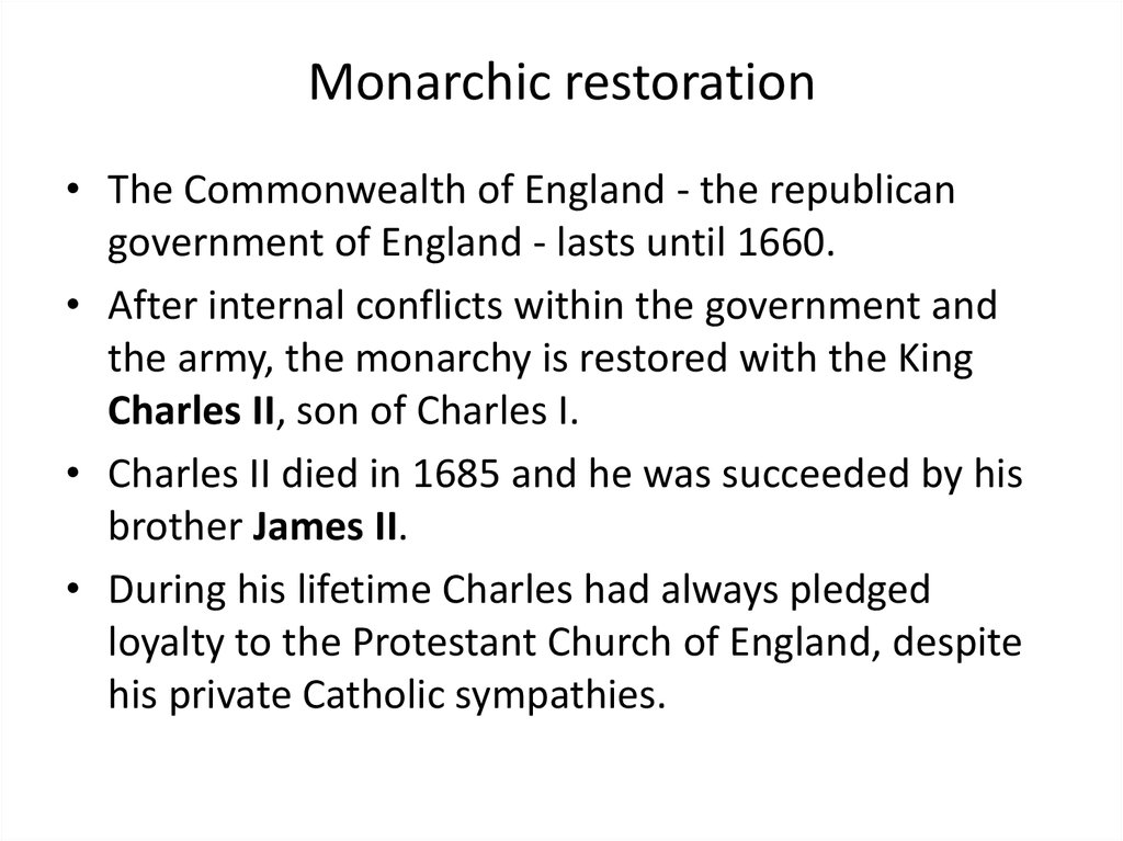Monarchic restoration