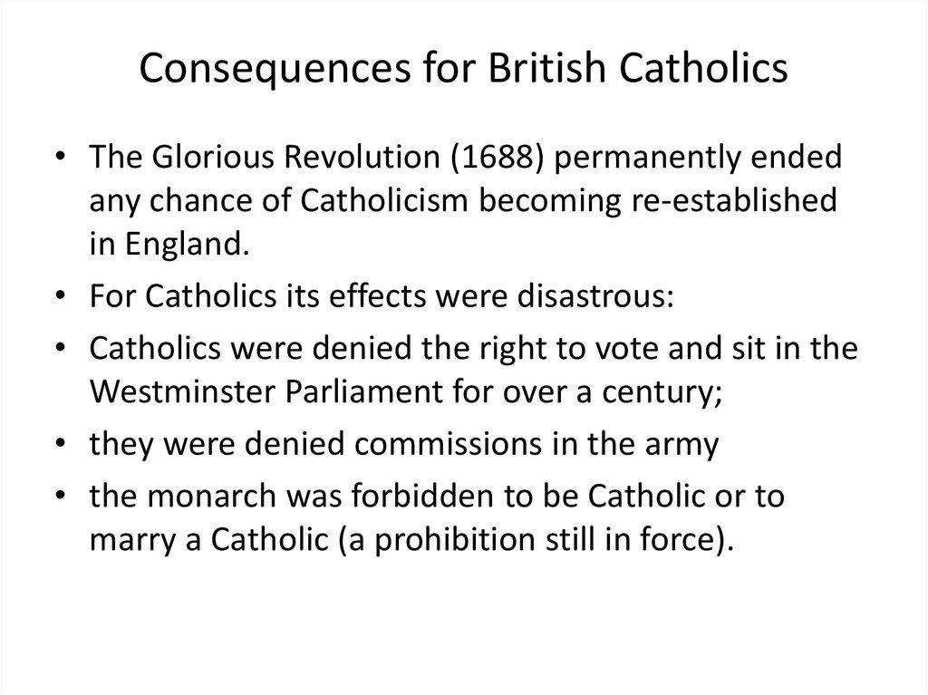 Consequences for British Catholics