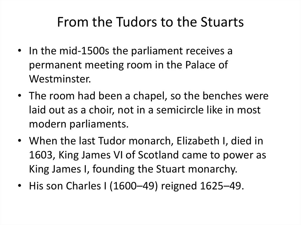 From the Tudors to the Stuarts