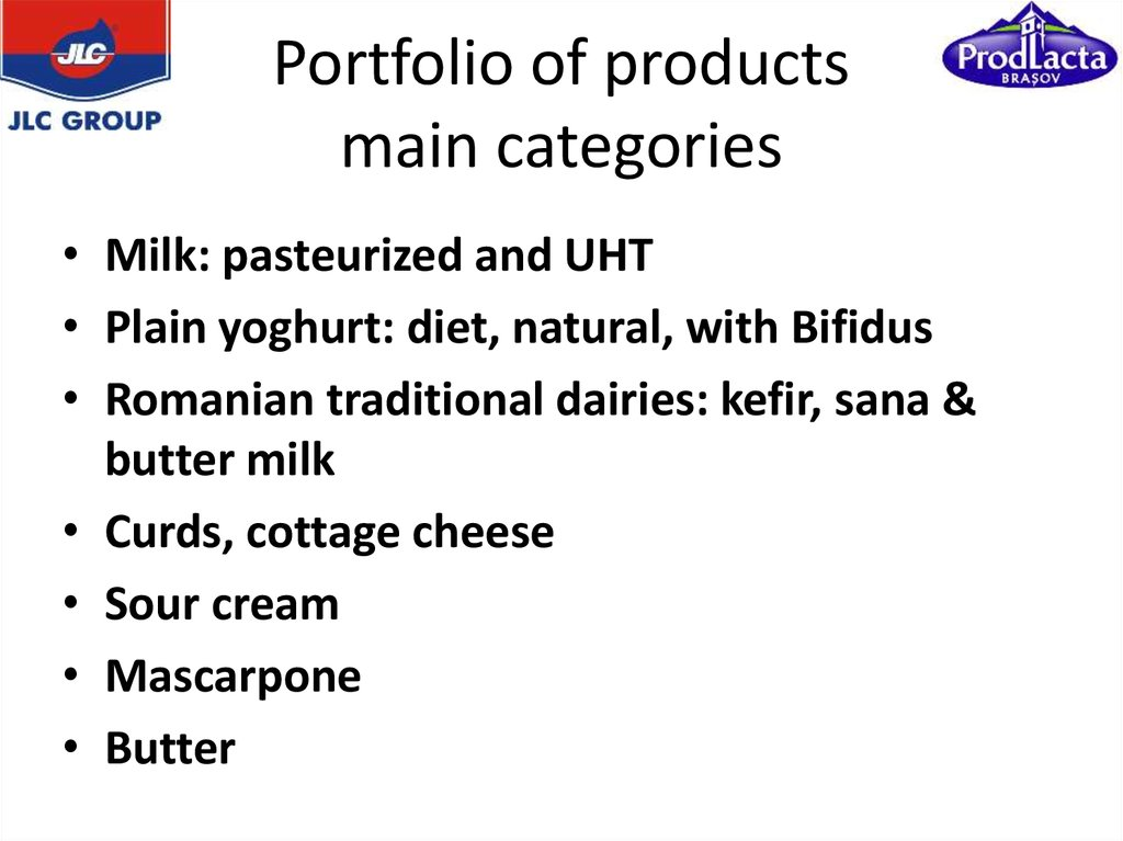 Portfolio of products main categories