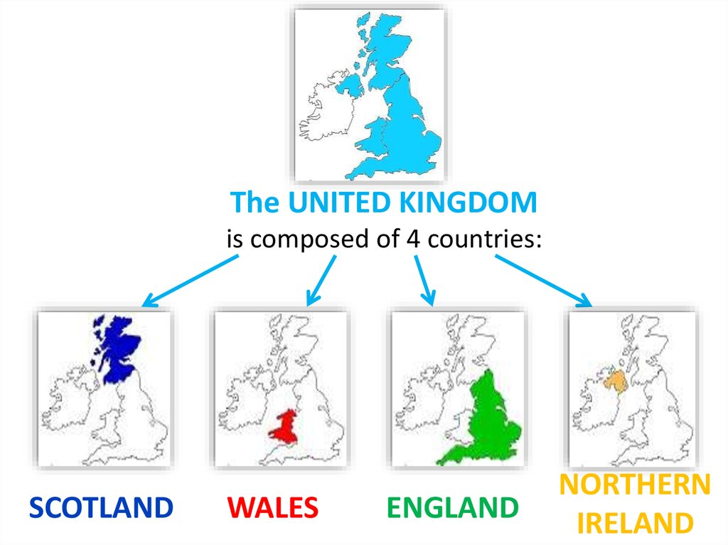 The UNITED KINGDOM is composed of 4 countries: