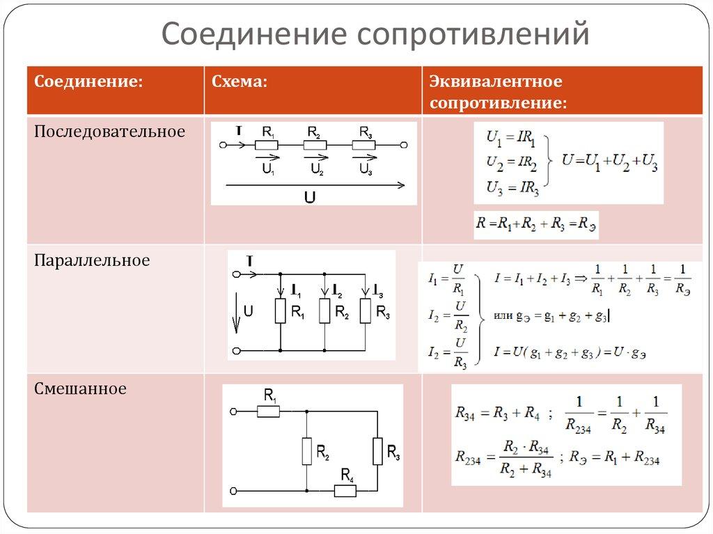 Формула напряжения при последовательном соединении резисторов