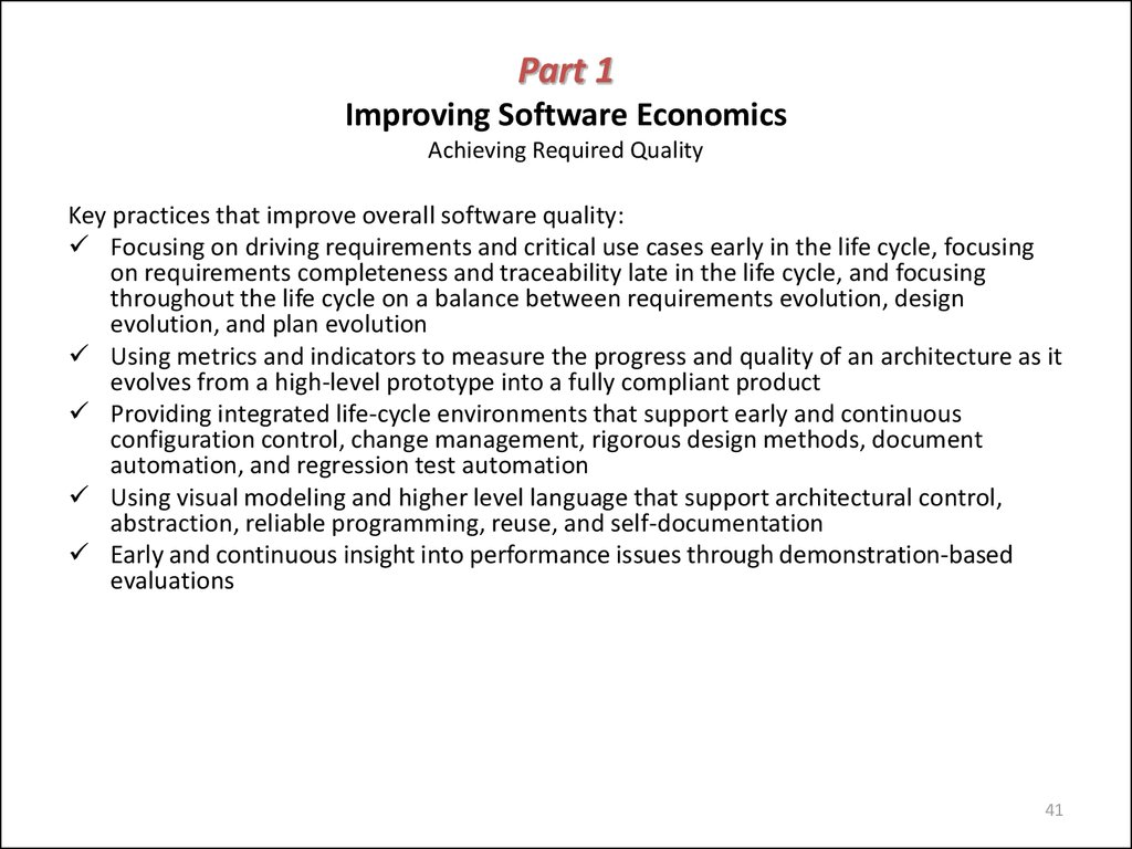Part 1 Improving Software Economics Achieving Required Quality