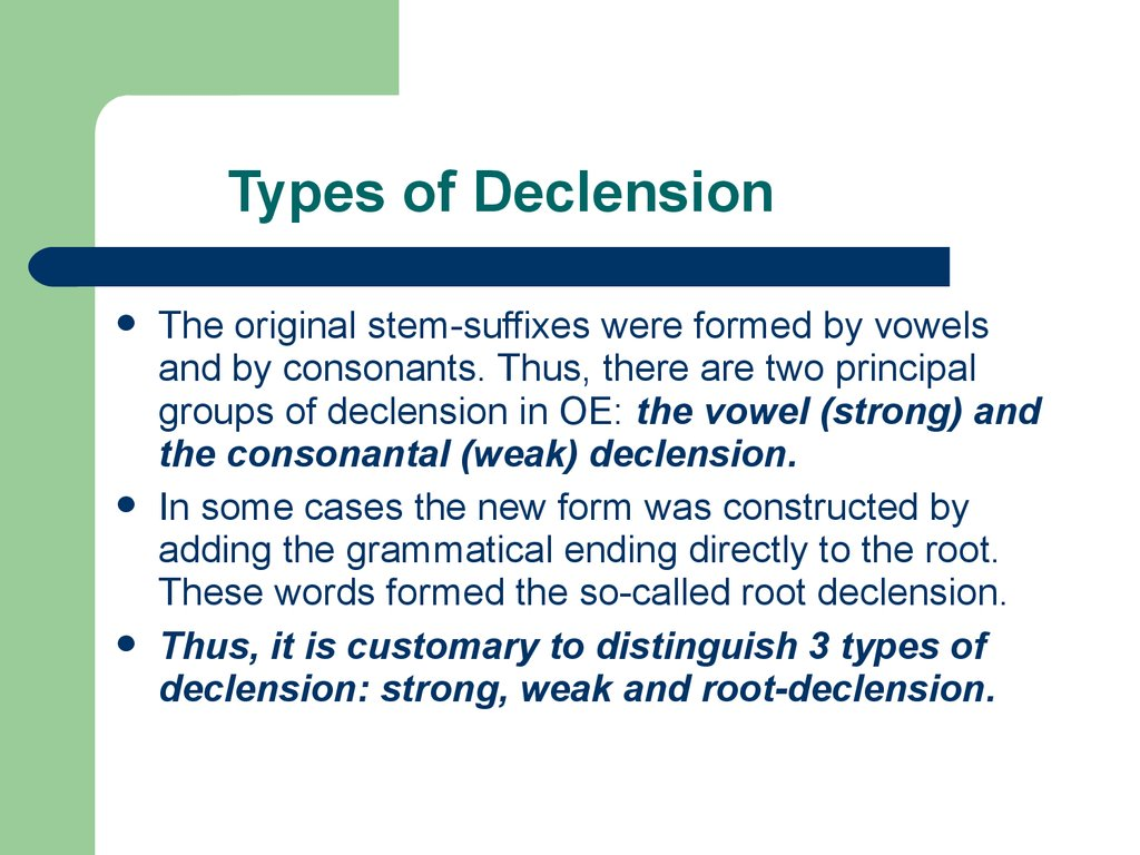 Types of Declension
