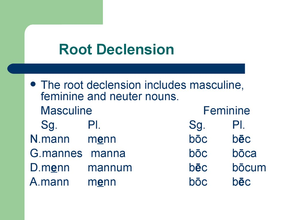 Root Declension