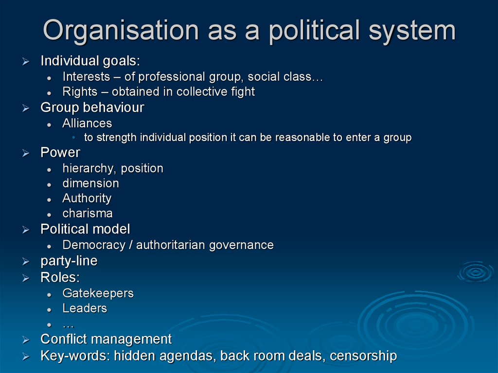 organizations as political systems A political system is an aspect of the social system, and political activity and study is a special category of social activity and study the boundary of politics is often not clear, so that, for example, actions of trades union leaders may sometimes be induded in politics and sometimes not.
