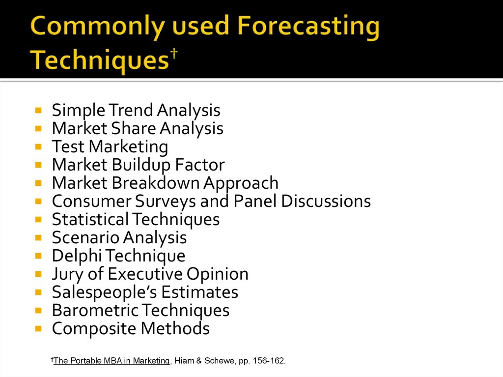 Commonly used Forecasting Techniques†