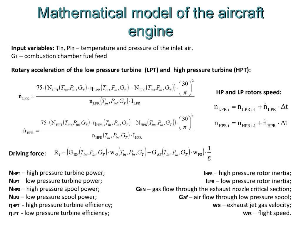 Mathematical model of the aircraft engine