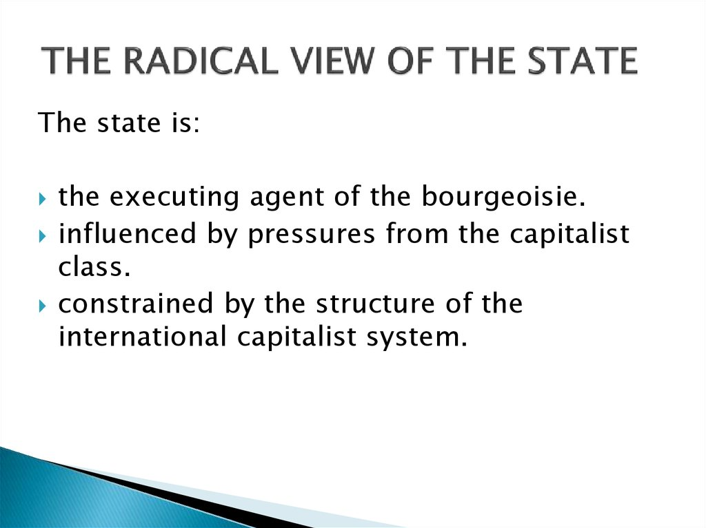 THE RADICAL VIEW OF THE STATE