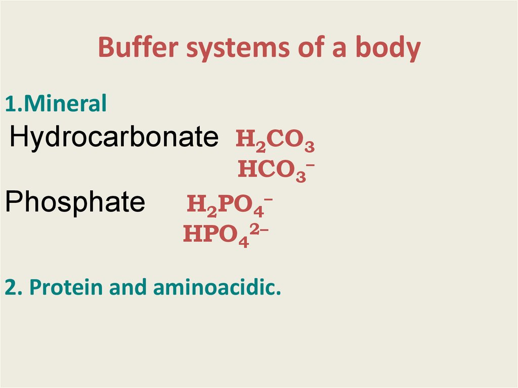 Buffer systems of a body