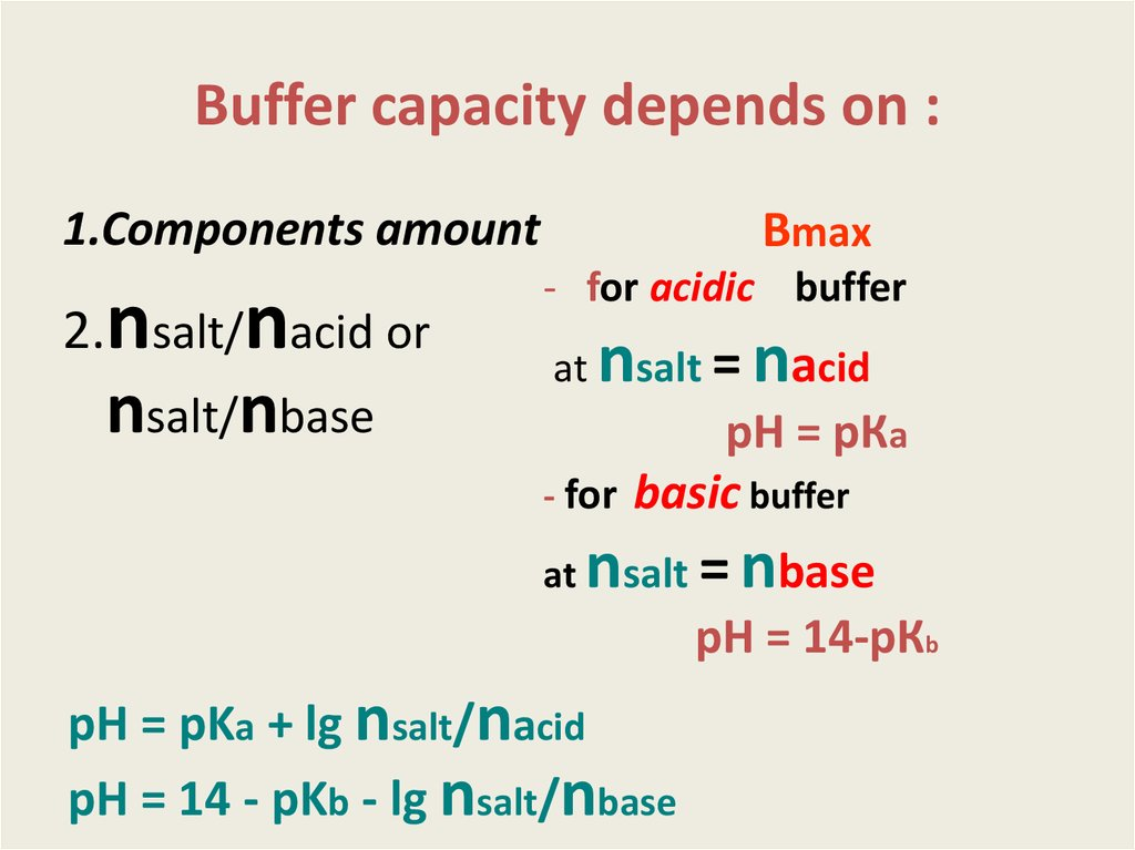 Buffer capacity depends on :