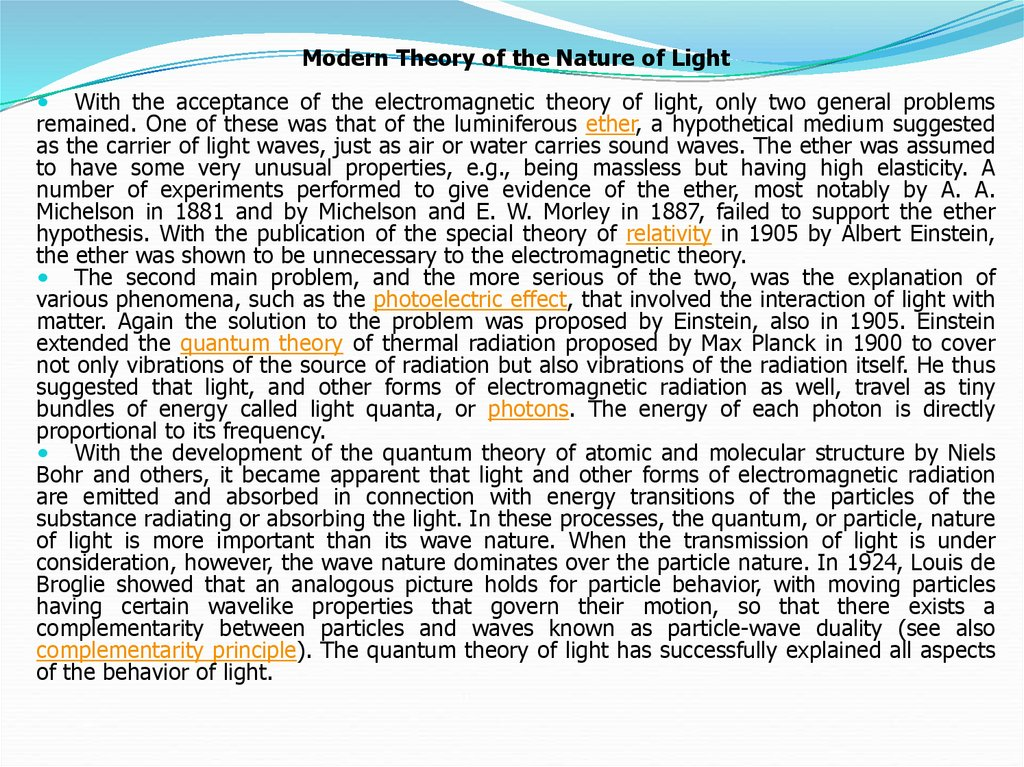 The development of the nature of light - презентация онлайн