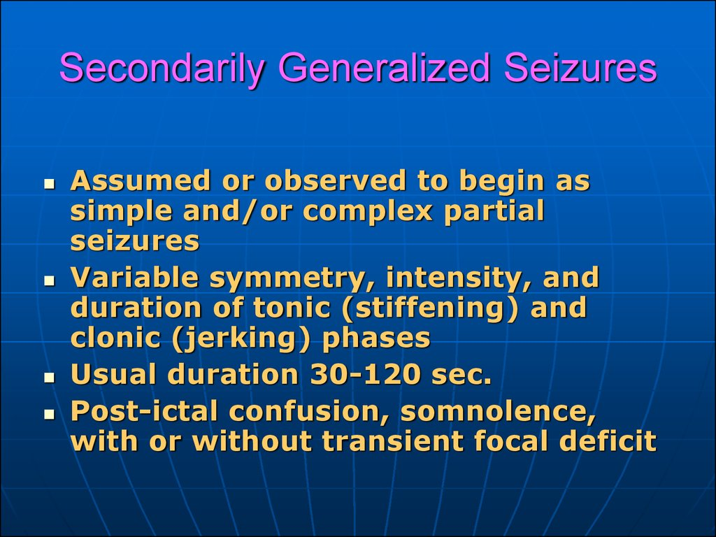 categories of primarily generalized and partial seizures The different types of partial seizures, also known as focal seizures, include the following: simple partial seizures (typically with jerking movements of body, arm, face or other body part without loss of consciousness during seizure.