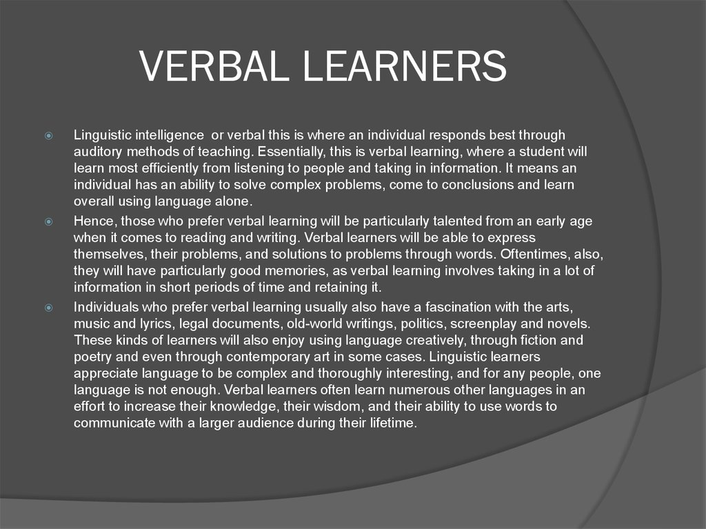 VERBAL LEARNERS