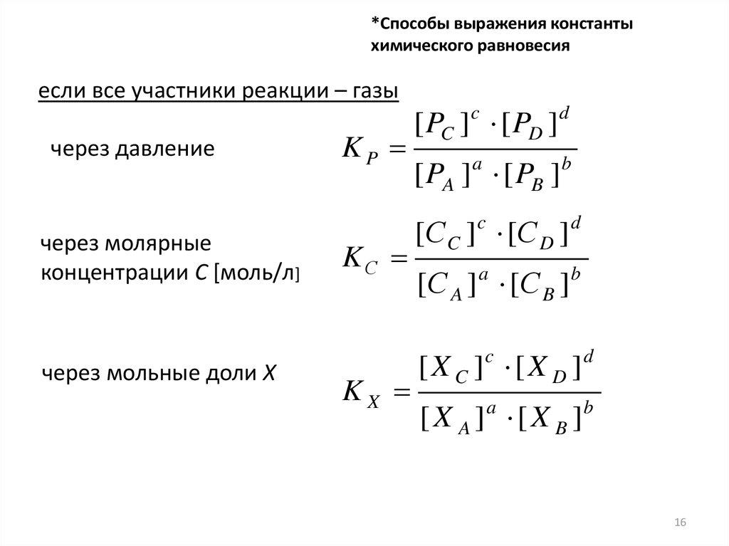 Константа равновесия для гетерогенной реакции