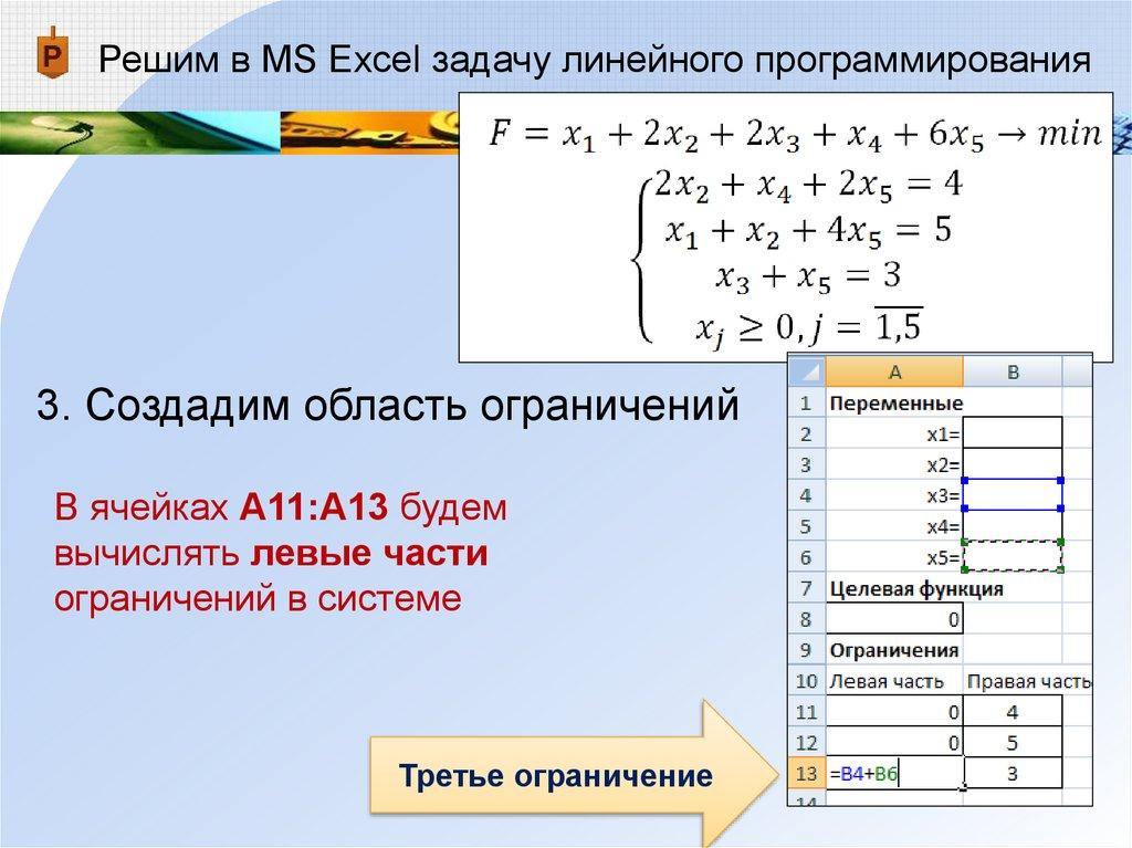 Графический метод решения задач линейного программирования excel презентация решение задач на проценты