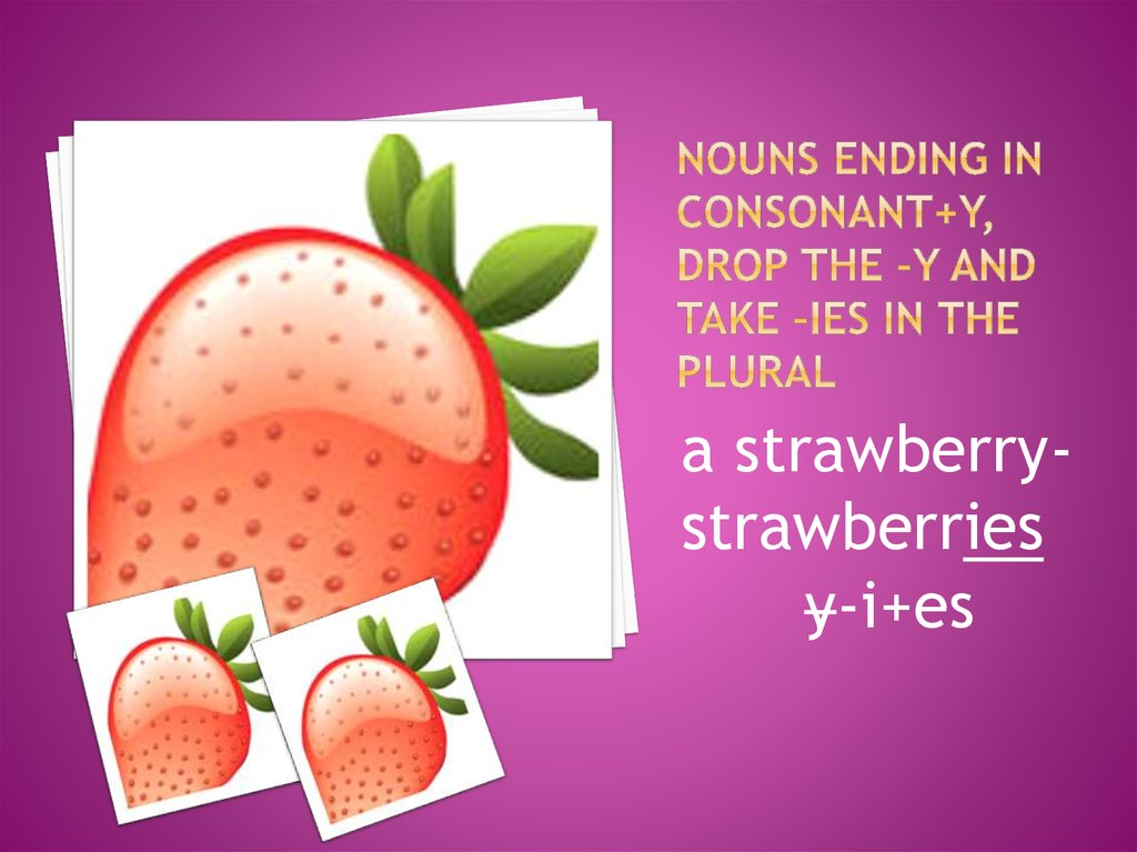 Nouns ending in consonant+y, drop the –y and take –ies in the plural