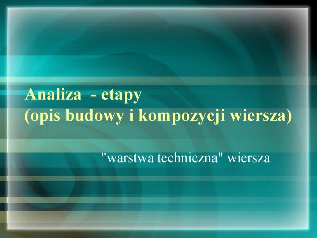 Analiza I Interpretacja Wiersza Etapy презентация онлайн