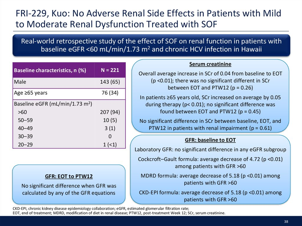 FRI-229, Kuo: No Adverse Renal Side Effects in Patients with Mild to Moderate Renal Dysfunction Treated with SOF