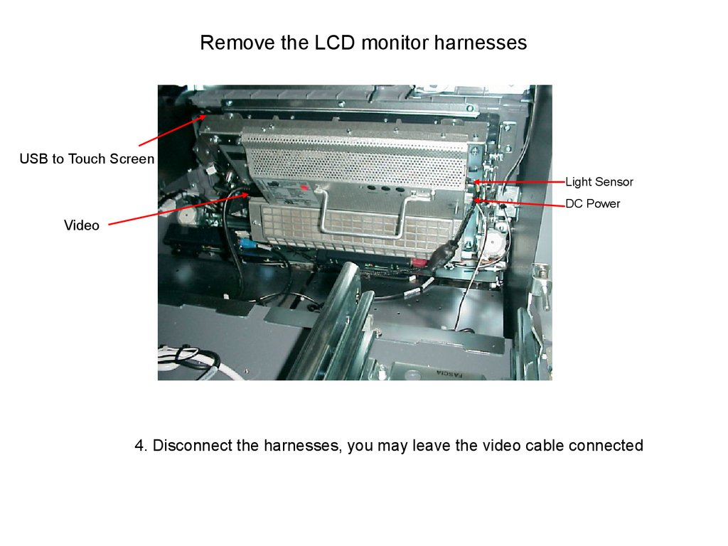 Remove the LCD monitor harnesses