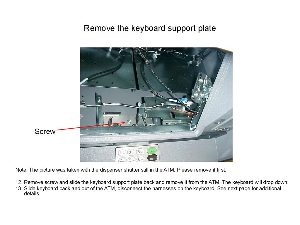 Remove the keyboard support plate