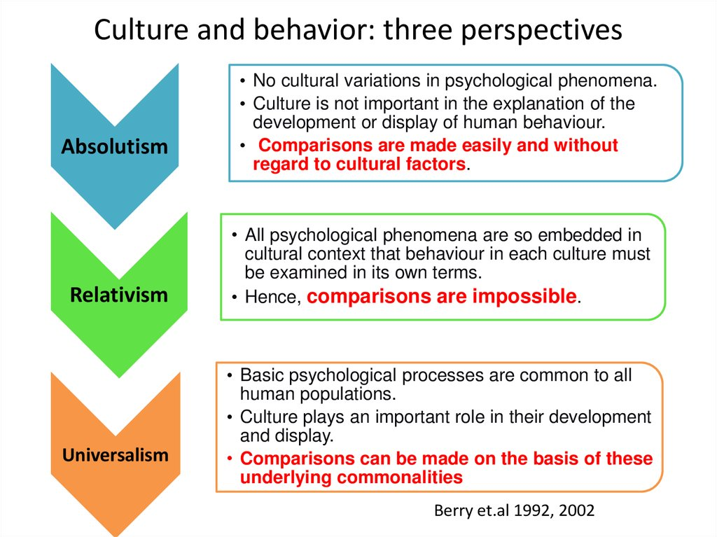 Culture and behavior: three perspectives