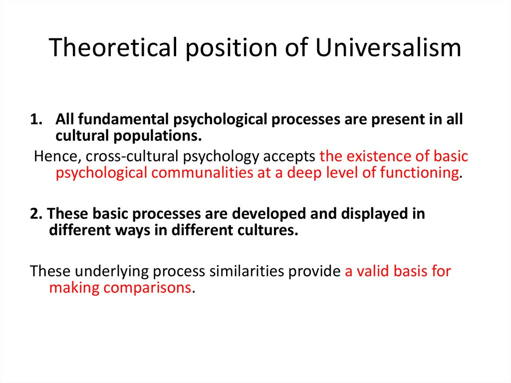 Theoretical position of Universalism