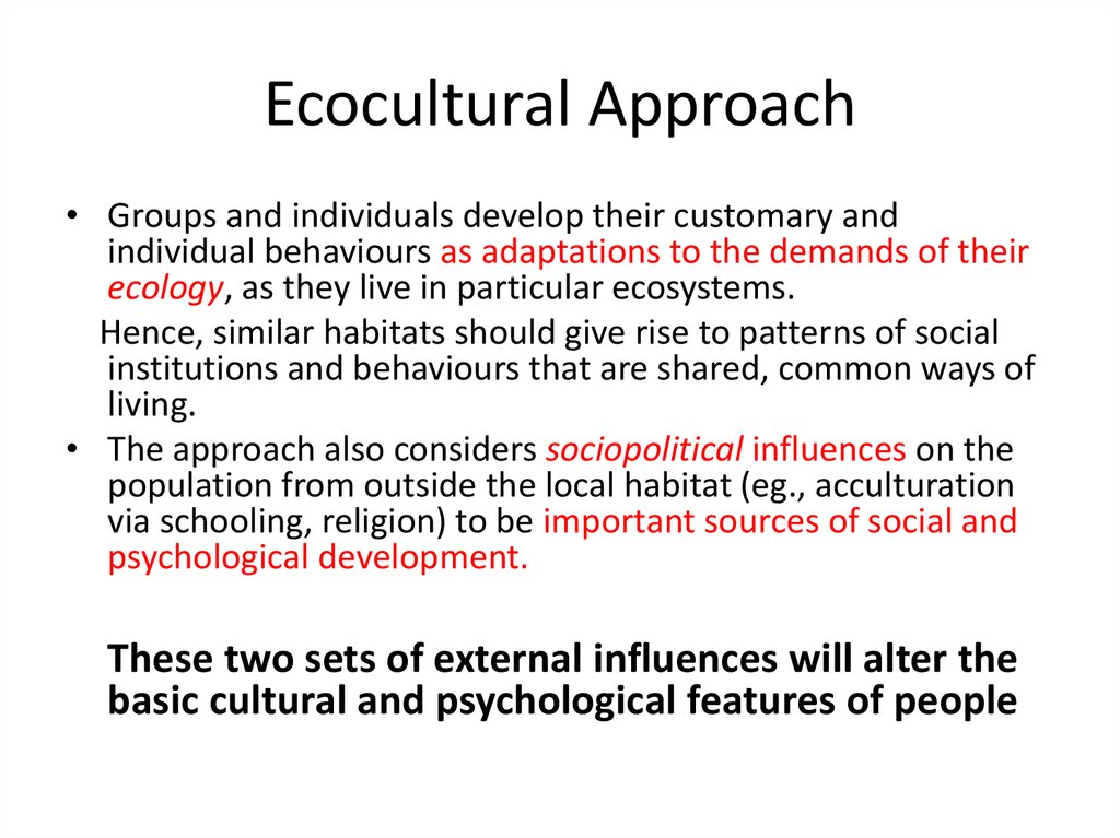 Ecocultural Approach