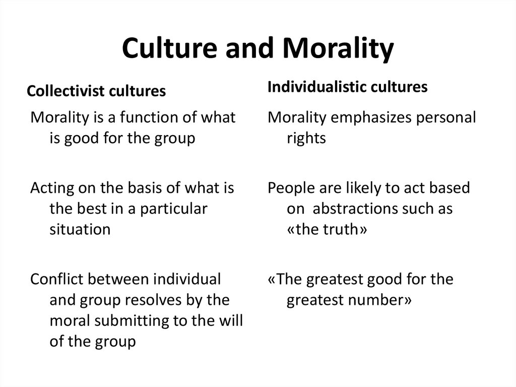 Culture and Morality