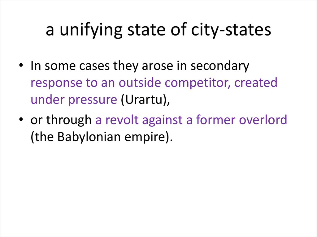 a unifying state of city-states