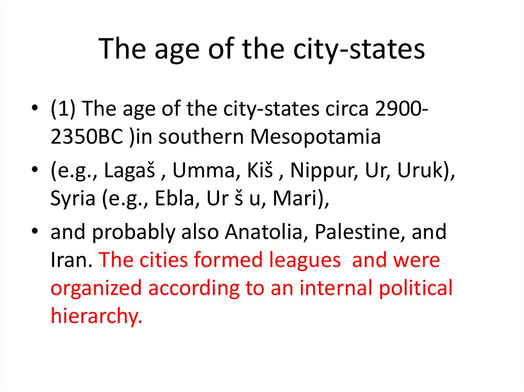 The age of the city-states