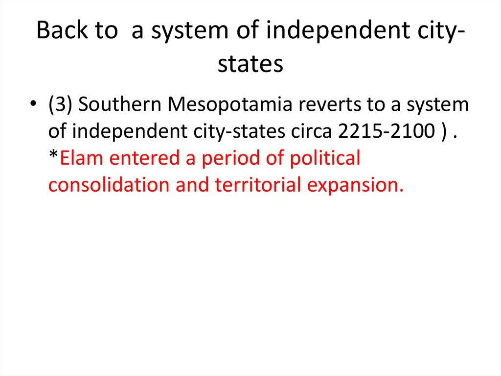 Back to a system of independent city-states
