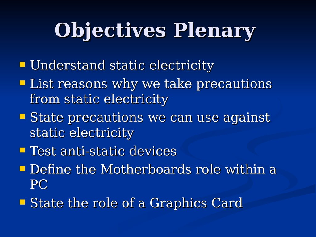 Objectives Plenary