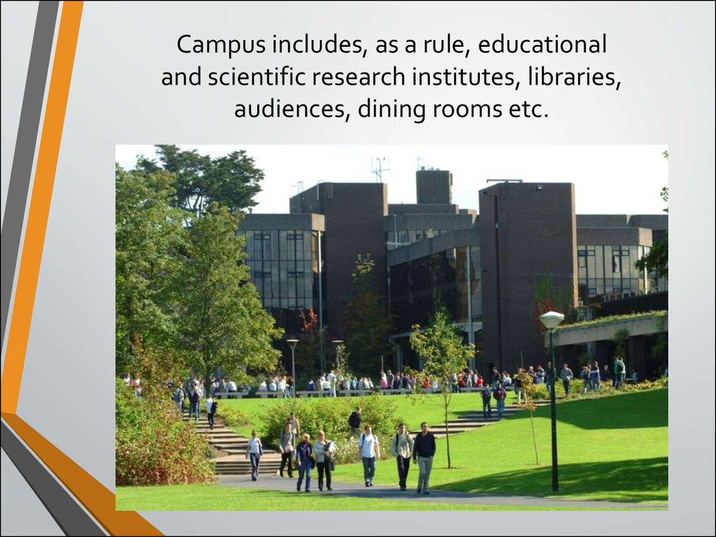 Campus includes, as a rule, educational and scientific research institutes, libraries, audiences, dining rooms etc.