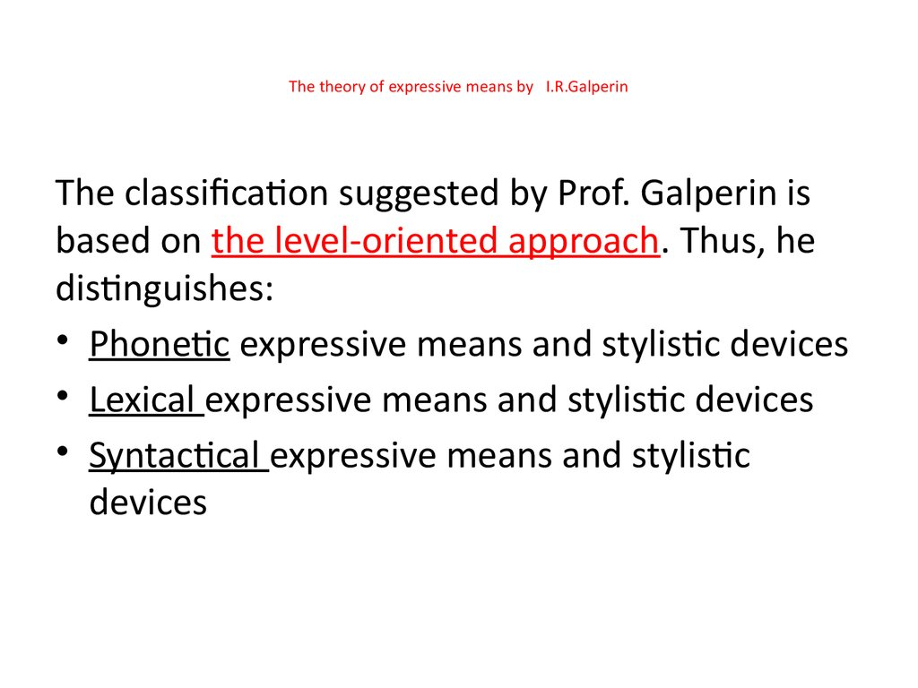 The theory of expressive means by I.R.Galperin