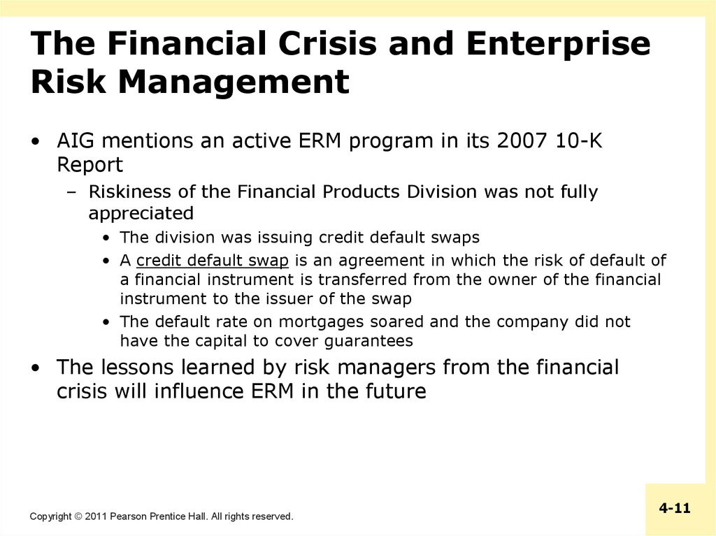 The Financial Crisis and Enterprise Risk Management