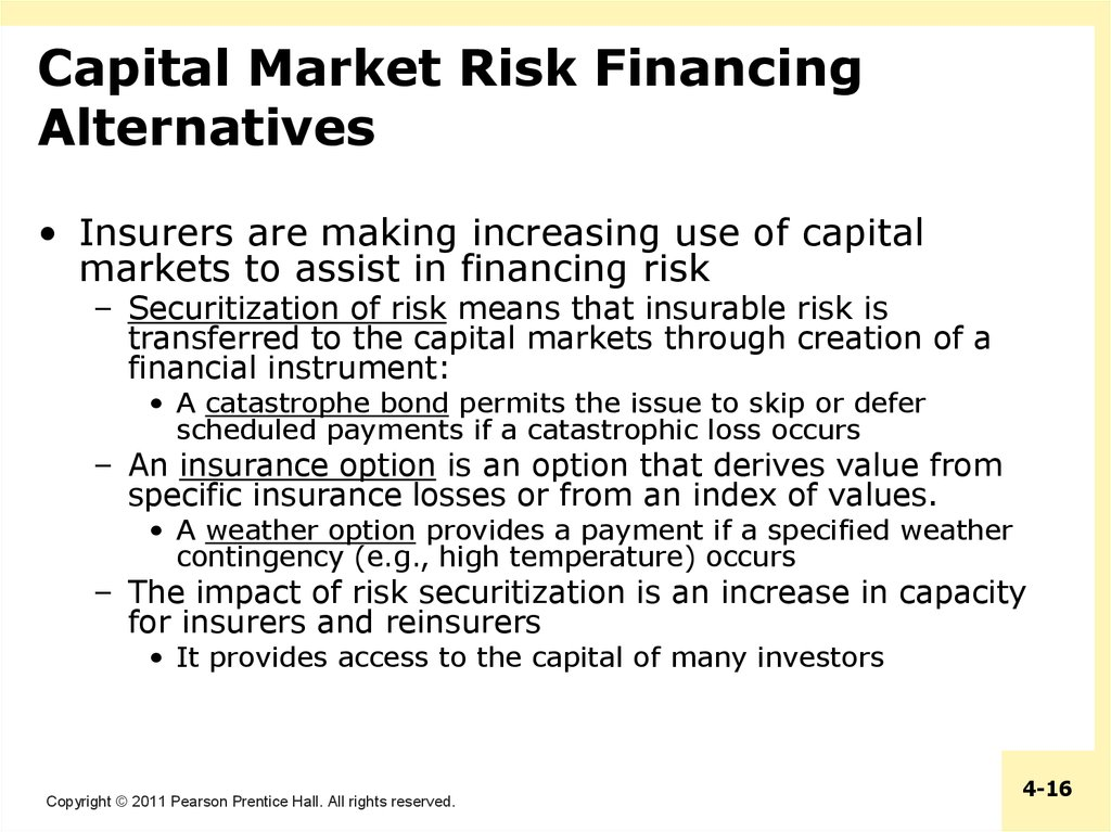 Capital Market Risk Financing Alternatives