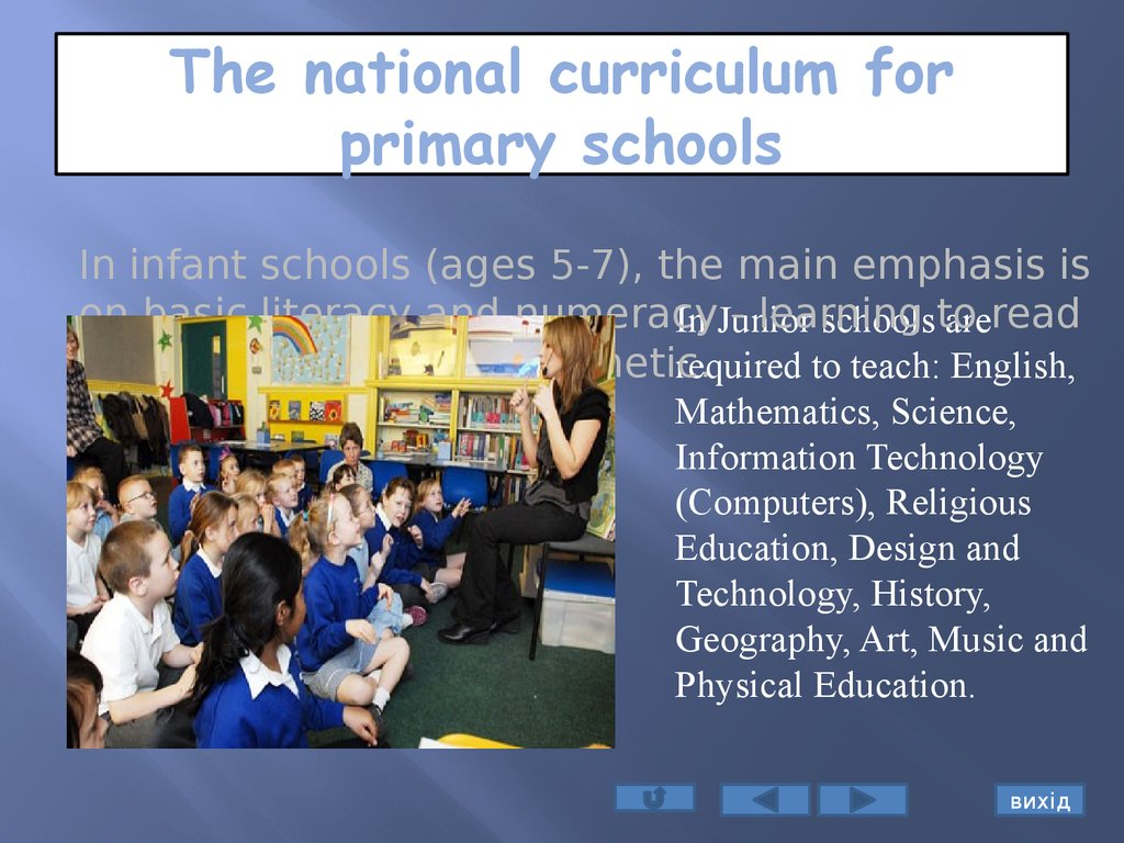 The national curriculum for primary schools