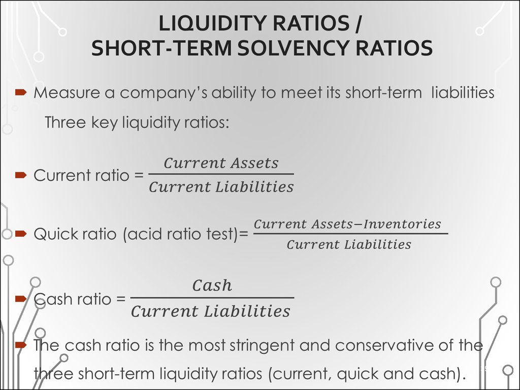 LIQUIDITY RATIOS / SHORT-TERM SOLVENCY RATIOS