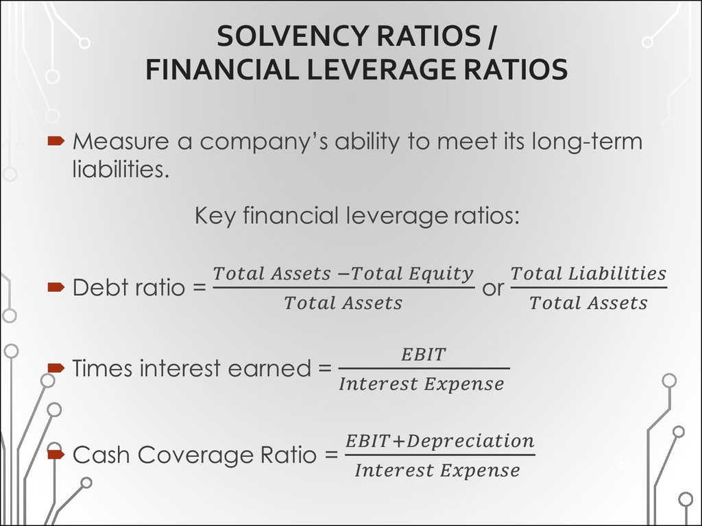 SOLVENCY RATIOS / FINANCIAL LEVERAGE RATIOS