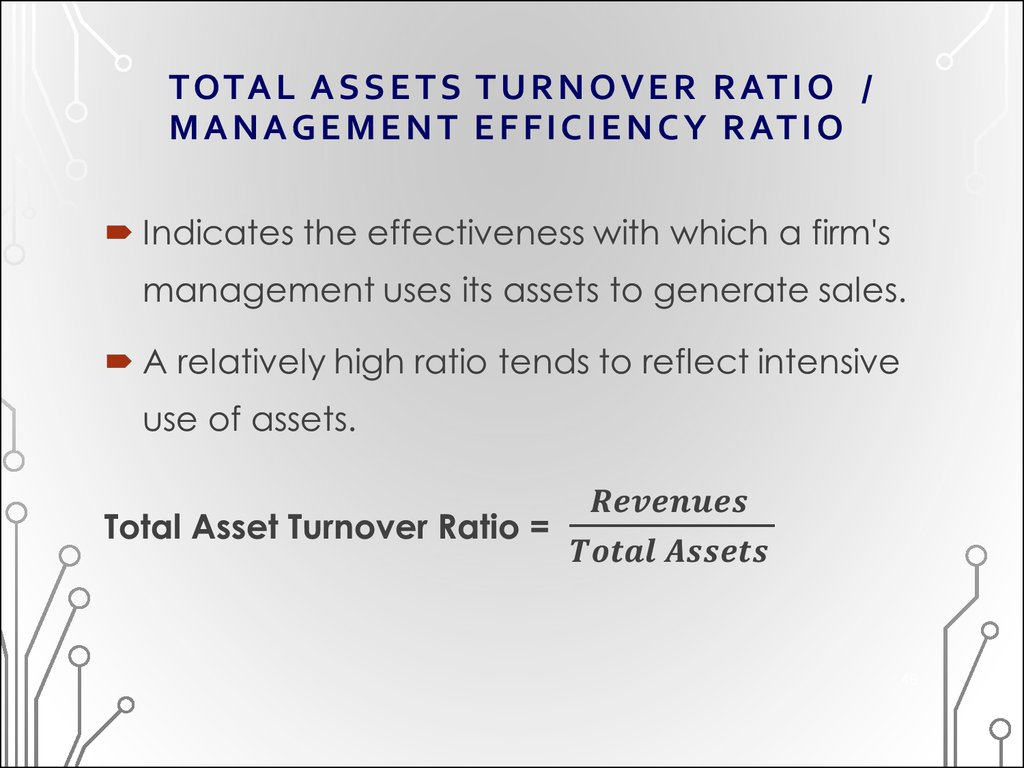 TOTAL ASSETS TURNOVER RATIO / MANAGEMENT EFFICIENCY RATIO