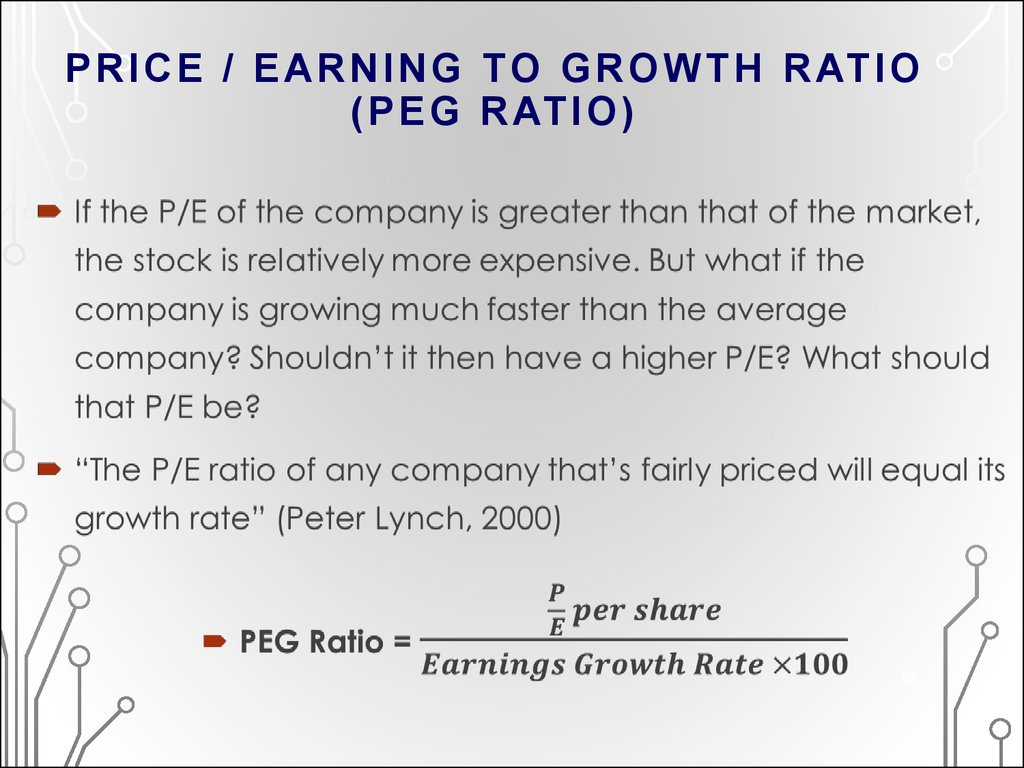 PRICE / EARNING TO GROWTH RATIO (PEG RATIO)