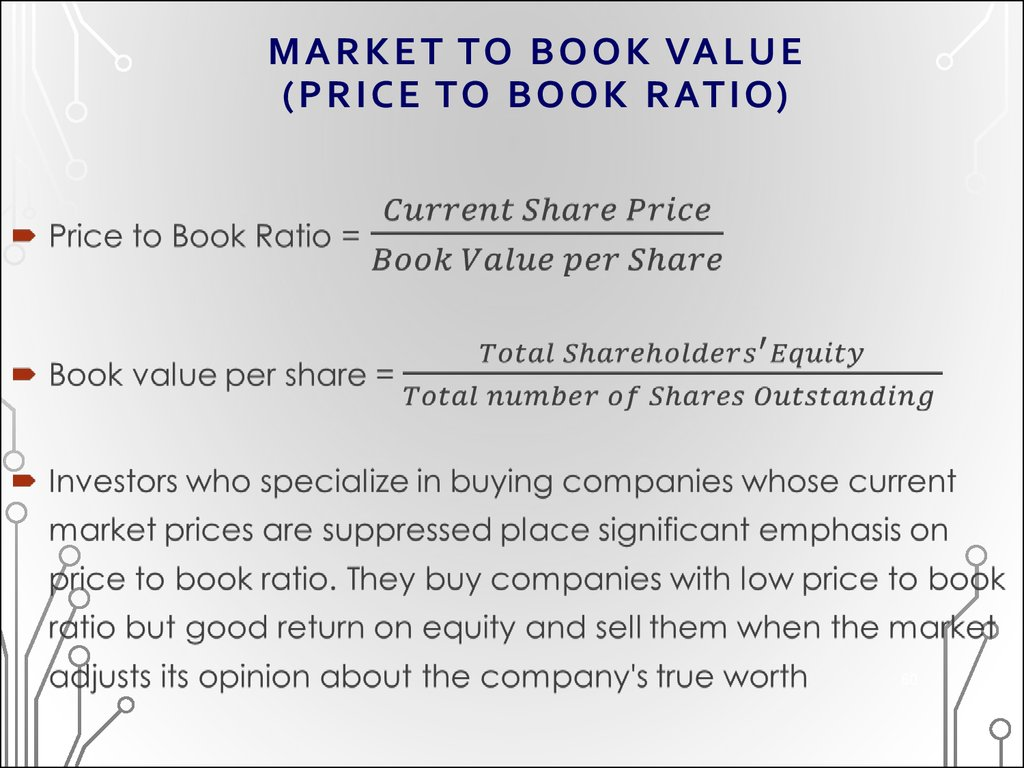 MARKET TO BOOK VALUE (PRICE TO BOOK RATIO)