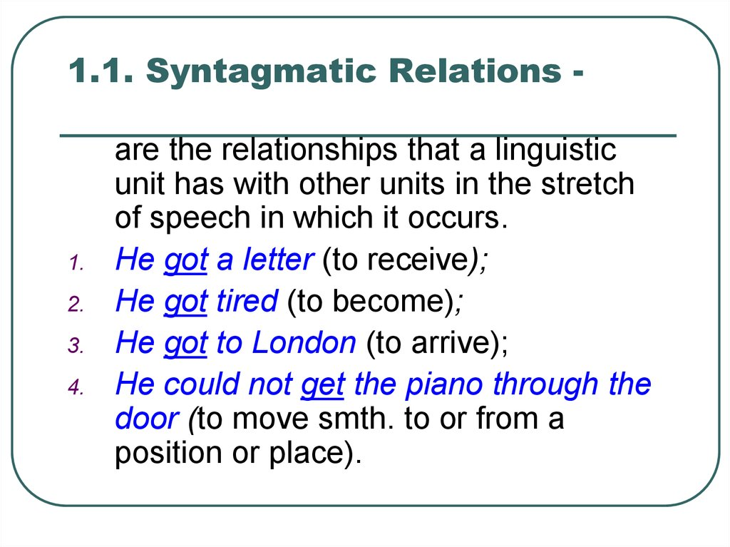 1.1. Syntagmatic Relations -