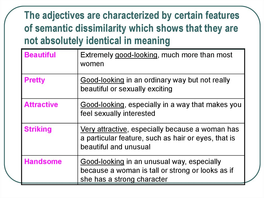 The adjectives are characterized by certain features of semantic dissimilarity which shows that they are not absolutely identical in meaning