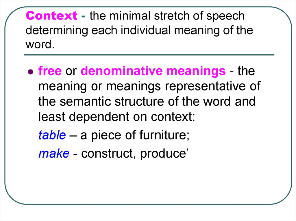 Context - the minimal stretch of speech determining each individual meaning of the word.