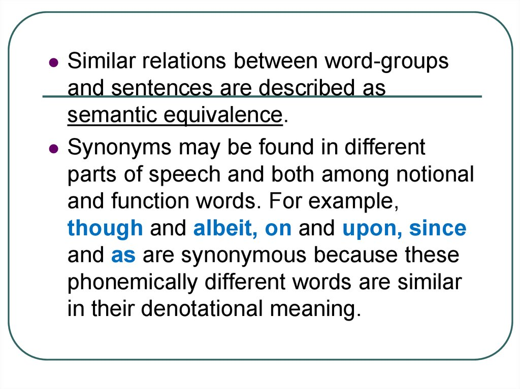 Intralinguistic Relations Of Words Types Of Semantic Relations