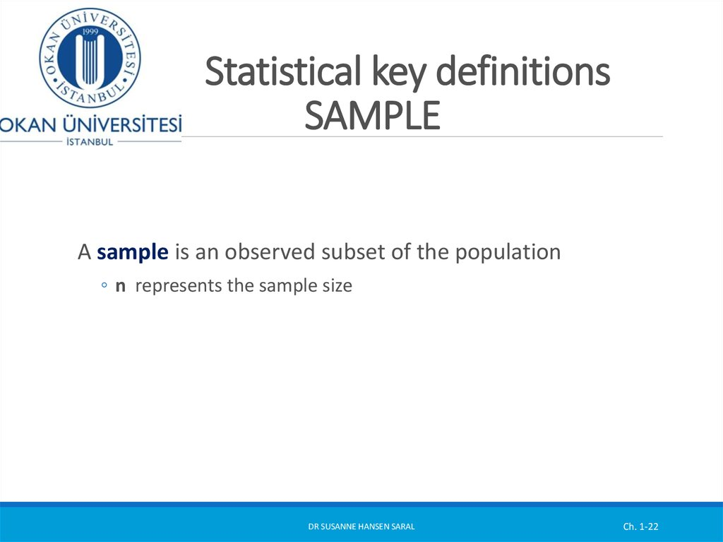 Statistical key definitions SAMPLE