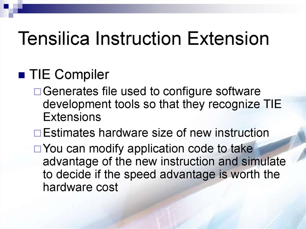 Tensilica Instruction Extension