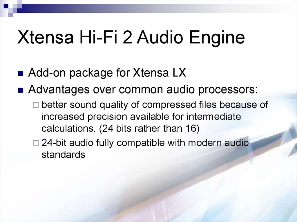 Xtensa Hi-Fi 2 Audio Engine